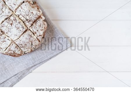 Brown Bread Whole Grain Baked Copy Space Top View Closeup Photo. Appetite Gluten-free Gastronomy Tra