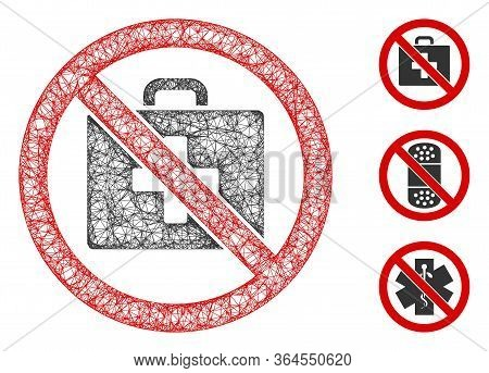 Mesh No First-aid Polygonal Web Icon Vector Illustration. Carcass Model Is Based On No First-aid Fla