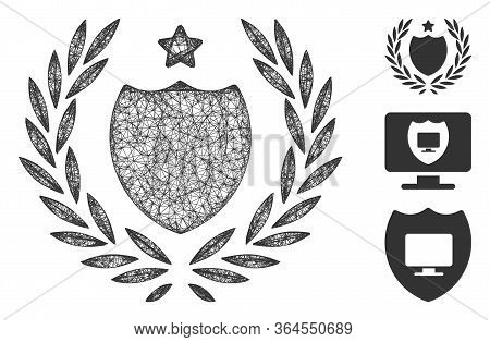 Mesh Official Insurance Shield Polygonal Web Icon Vector Illustration. Carcass Model Is Based On Off