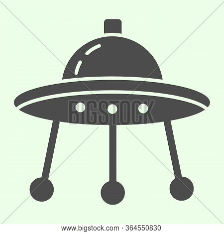 Alien Spaceship Solid Icon. Spacecraft Or Ufo Ship Plate Glyph Style Pictogram On White Background.