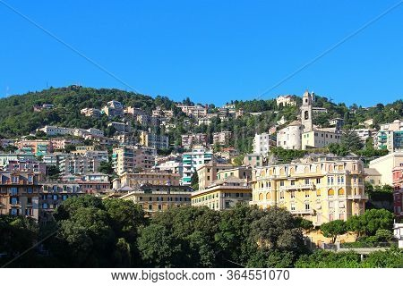 Aerial View Of Sunny Genoa, Liguria, Italy