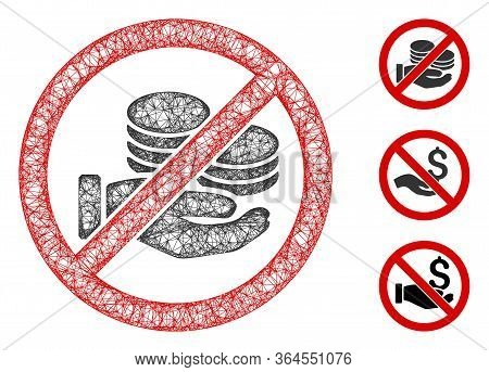 Mesh No Pay Coins Polygonal Web Icon Vector Illustration. Carcass Model Is Based On No Pay Coins Fla