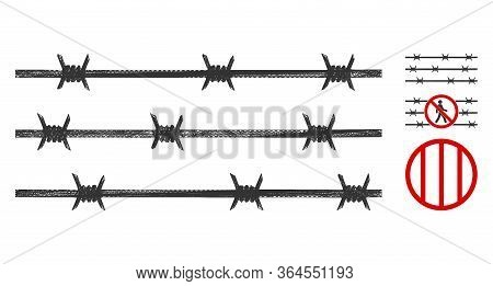 Mesh Barbwire Fence Polygonal Web Symbol Vector Illustration. Carcass Model Is Based On Barbwire Fen