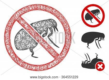 Mesh No Flea Polygonal Web Icon Vector Illustration. Carcass Model Is Based On No Flea Flat Icon. Tr