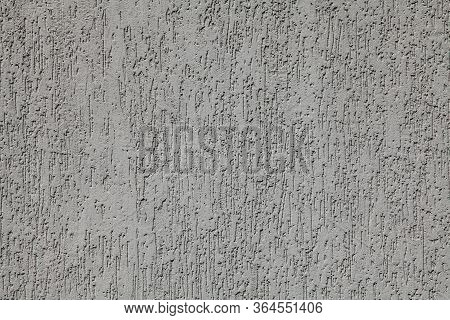 Grey Wall, Texture, Background. Plastered Building Wall, Painted With Water-based Paint. Decorated S