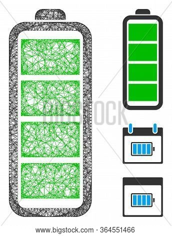 Mesh Full Battery Polygonal Web 2d Vector Illustration. Abstraction Is Based On Full Battery Flat Ic
