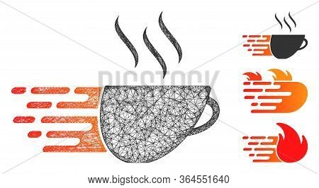 Mesh Express Coffee Polygonal Web Symbol Vector Illustration. Carcass Model Is Based On Express Coff