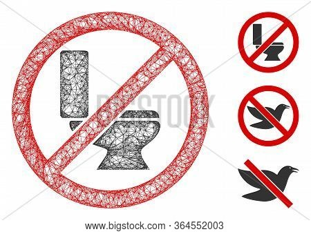 Mesh No Toilet Bowl Polygonal Web 2d Vector Illustration. Carcass Model Is Based On No Toilet Bowl F