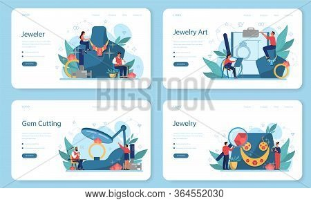 Jeweler And Jewelry Web Banner Or Landing Page Set. Idea Of Creative