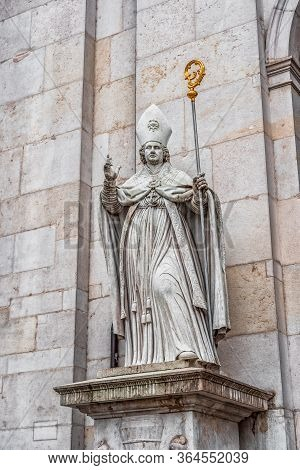 Feb 4, 2020 - Salzburg, Austria: Rupert Of Salzburg Patron Statue At The Front Gate Of Cathedral Of