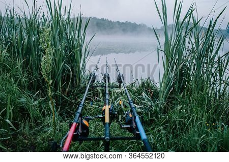 Three Carp Fishing Rods In Rod Pod On A Background Of Lake And Nature. Fishing Background. Carp Fish