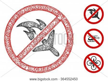Mesh No Aviation Accidents Polygonal Web Icon Vector Illustration. Carcass Model Is Based On No Avia