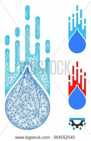 Mesh Falling Drop Polygonal Web Icon Vector Illustration. Model Is Based On Falling Drop Flat Icon.