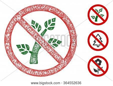 Mesh No Botany Polygonal Web Icon Vector Illustration. Model Is Created From No Botany Flat Icon. Tr