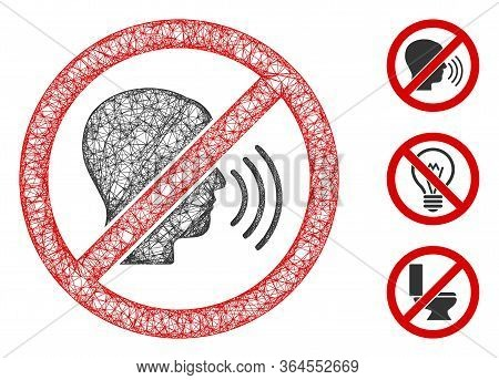 Mesh No Speaking Polygonal Web Icon Vector Illustration. Carcass Model Is Based On No Speaking Flat