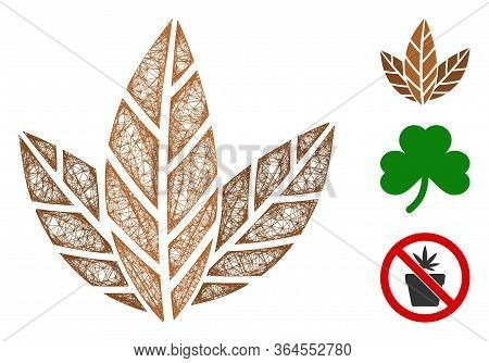 Mesh Tobacco Leaves Polygonal Web Icon Vector Illustration. Carcass Model Is Created From Tobacco Le