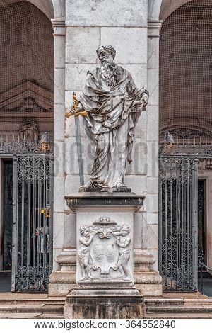 Feb 4, 2020 - Salzburg, Austria: Statue Of The Patron St. Paul In Front Of Salzburg Cathedral In His