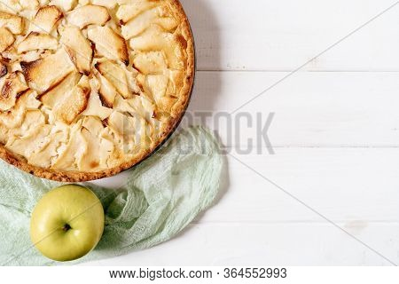 Apple Pie Cake Bakery Dessert Copy Space Top View Closeup Photo. Festive Delicious Food And Agricult