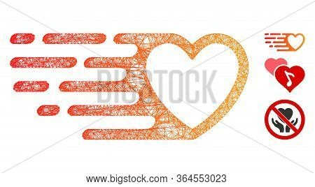 Mesh Fast Love Heart Polygonal Web Symbol Vector Illustration. Carcass Model Is Based On Fast Love H