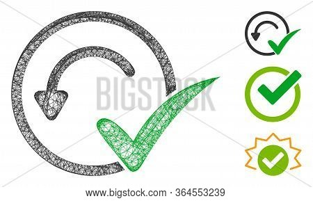 Mesh Pre-approved Polygonal Web Symbol Vector Illustration. Carcass Model Is Based On Pre-approved F