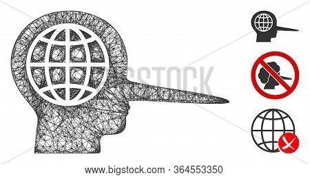 Mesh Global Liar Polygonal Web Icon Vector Illustration. Carcass Model Is Based On Global Liar Flat