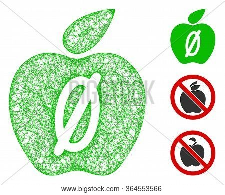 Mesh Zero Calories Apple Polygonal Web Icon Vector Illustration. Carcass Model Is Based On Zero Calo