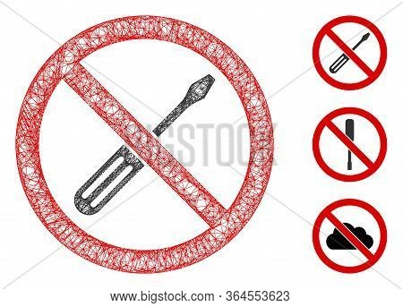 Mesh No Screwdriver Tuning Polygonal Web Icon Vector Illustration. Model Is Created From No Screwdri