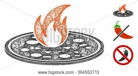 Mesh Hot Pizza Polygonal Web Symbol Vector Illustration. Carcass Model Is Based On Hot Pizza Flat Ic