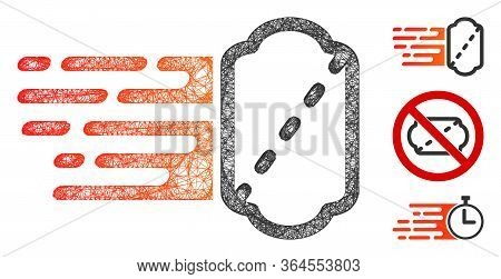 Mesh Express Ticket Polygonal Web Icon Vector Illustration. Carcass Model Is Based On Express Ticket