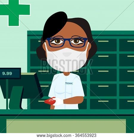 Black Female Pharmacist Behind Counter With Protective Mask White Glove Cash Register And Medication