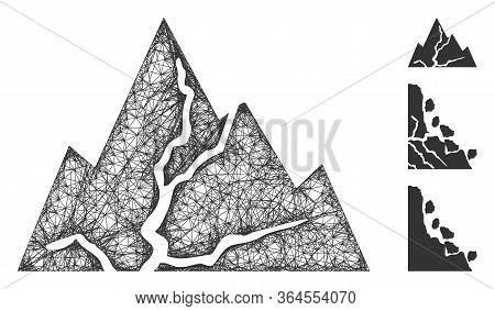 Mesh Damaged Rocks Polygonal Web 2d Vector Illustration. Carcass Model Is Based On Damaged Rocks Fla