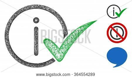 Mesh Truth Information Polygonal Web Icon Vector Illustration. Carcass Model Is Based On Truth Infor