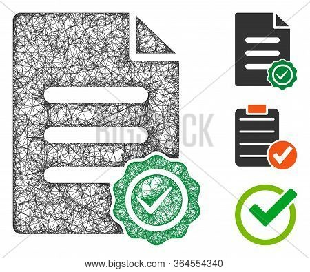 Mesh Confirmation Document Polygonal Web Icon Vector Illustration. Carcass Model Is Based On Confirm