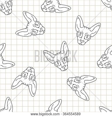 Cute Cartoon Monochrome Sphynx Kitten Face Seamless Vector Pattern. Pedigree Exotic Kitty Lineart Br