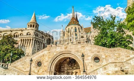 Famous Fisherman Bastion In Budapest At Summer Day, Hungary