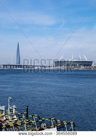 St. Petersburg, Russia. May 2, 2020. View Across River To The Lakhta Center Skyscraper, The Gazprom