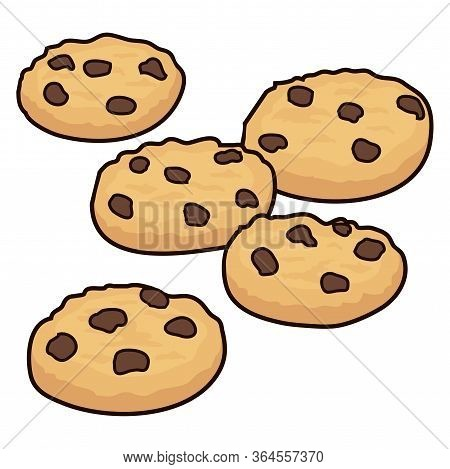 Vector Set Of Chocolate Chip Cookies Isolated On White Background. Homemade Biscuit Choc Cookie Coll