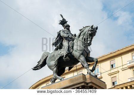 Naples, Italy - 30 October, 2019: View Of Statue Of Vittorio Emanuele Ii