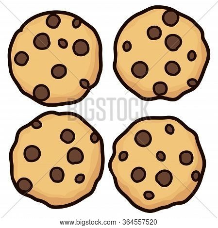 Vector Set Of Chocolate Chip Whole Cookies Isolated On White Background. Homemade Biscuit Choc Cooki
