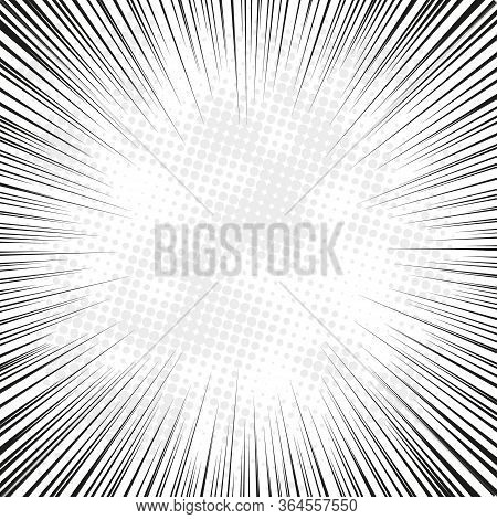 Radial Speed Line Burst In Retro Style On Light Background. Design Template Vector. Retro Vintage St