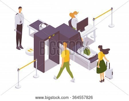 Airport Security Checkpoint Isometric With Guards And Passengers. Bags And Baggage Inspection Convey