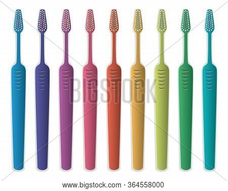 Vector Set Of Colorful Toothbrushes Isolated On White Background. Tooth Brush Collection With No Too