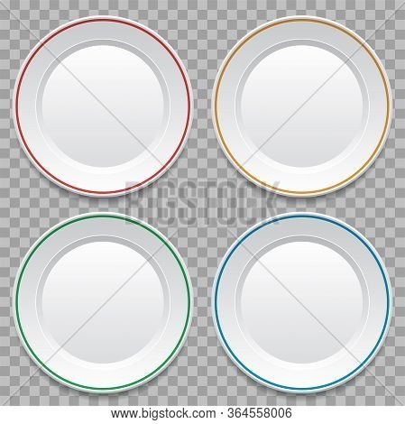 Vector Set Of Empty White Dinner Plates Isolated On Transparent Background. Top View Plate Backgroun