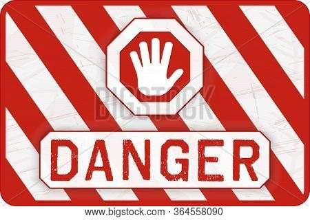 Danger Banner. Red And White Safety Background. Worn And Grunge Warning Wallpaper