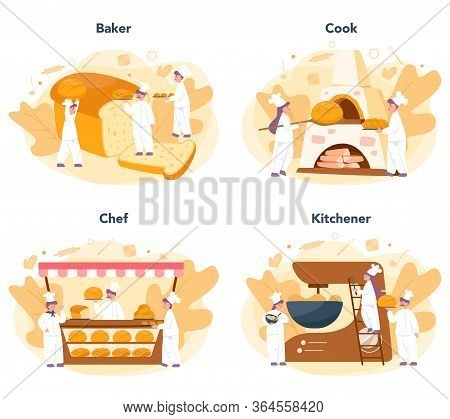 Baker And Bakery Concept Set. Chef In The Uniform Baking Bread.