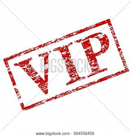 Vip Black Square Grunge Stamp On White. Grunge Stamp Black Colored Vip . Vector Illustration. Grungy