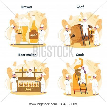 Brewery Set. Craft Beer Production, Brewing Process. Draught Beer