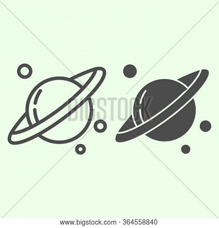 Space And Planets Line And Solid Icon. Planet Saturn With Solar Planetary Ring System Outline Style