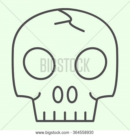 Skull Organ Thin Line Icon. Anatomical Human Head For Biology Study Outline Style Pictogram On White