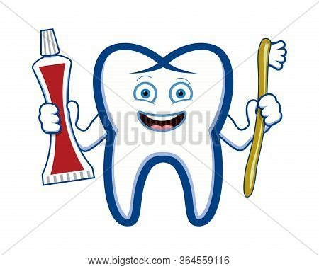 Vector Happy Smiling Tooth Holding Toothbrush And Toothpaste Tube. Cartoon Drawing Isolated On White